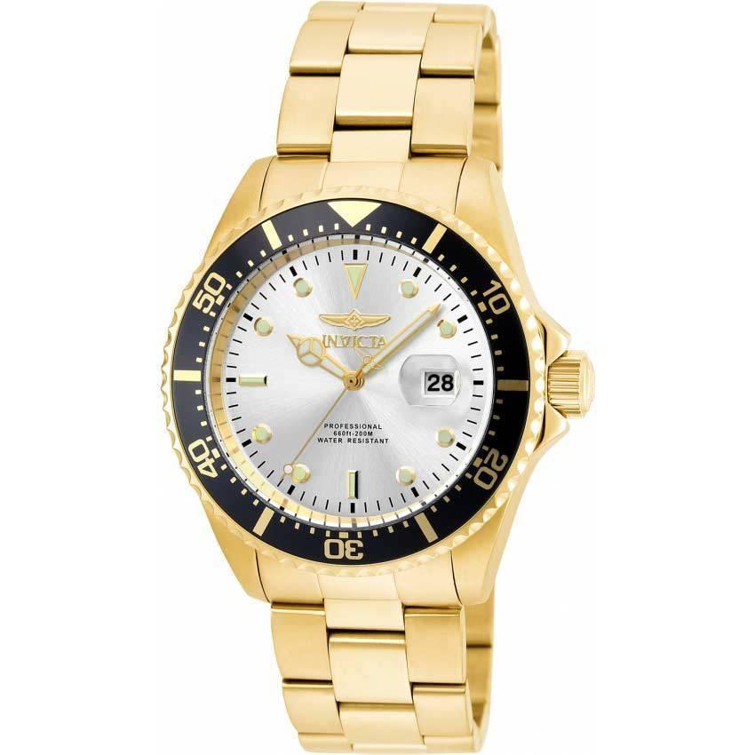 Invicta 22064 Men's Pro Diver Quartz 3 Hand Silver Dial Watch