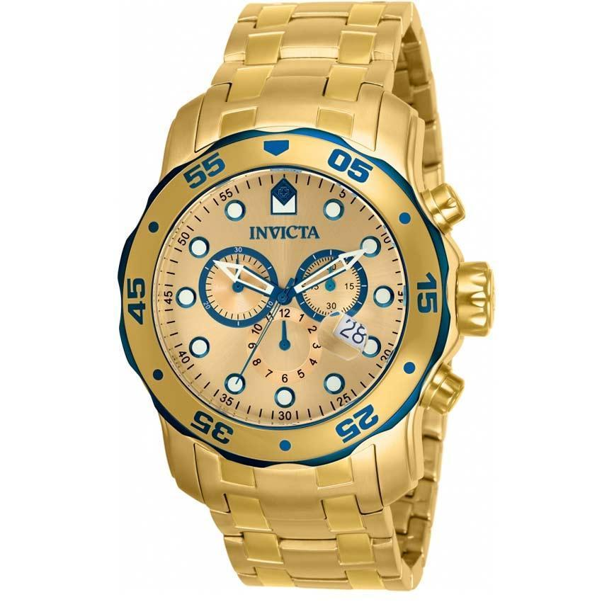 Invicta 80069 Men's Pro Diver Quartz 3 Hand Gold Dial Watch