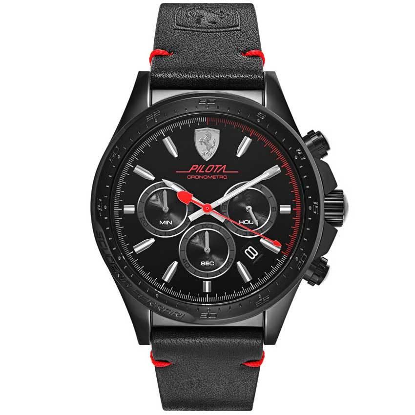 Ferrari 830434 Men's Pilota Chronometro 45mm Black IP Leather Watch