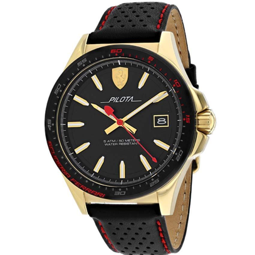 Ferrari 830490 Men's Pilota Gold-Tone Steel Leather Watch