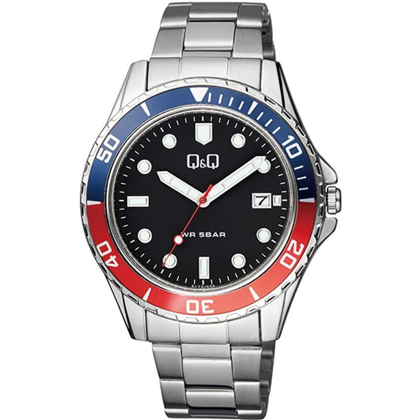 Q&Q A172J222Y Men's Stainless Steel Black Dial Bracelet Watch