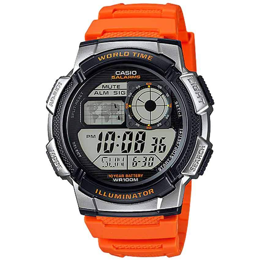 Casio AE1000W-4AV Men's Sport Orange Resin Band Medium Watch