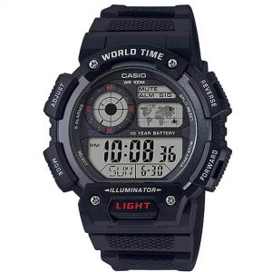 CASIO AE1400WH-1AV Digital World Time Black Resin Watch