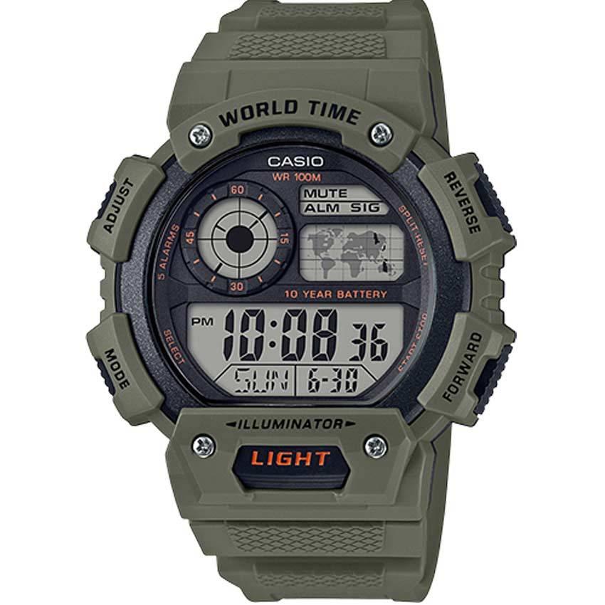 Casio AE1400WH-3AV Digital World Time Green Case, Resin Watch