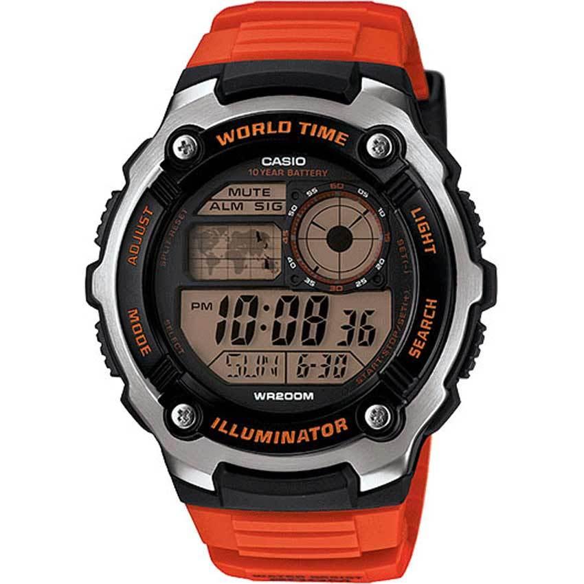 Casio AE2100W-4AV Men's Illuminator World Time Digital Orange Resin Watch