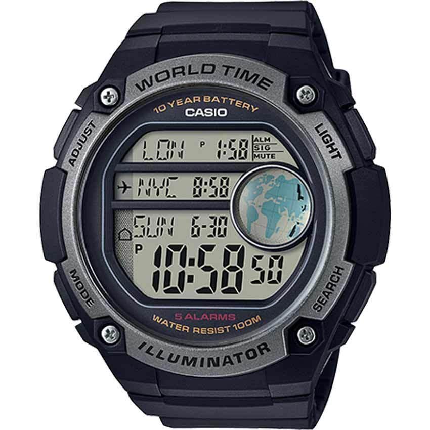 Casio AE3000W-1AV Men's Digital World Time Resin Band XL Size Watch