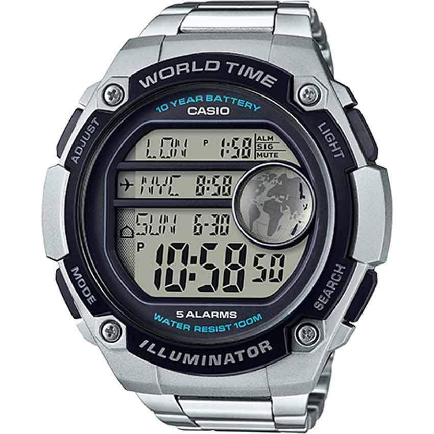 Casio AE3000WD-1AV Men's 3 City Time Display XLARGE Bracelet Watch