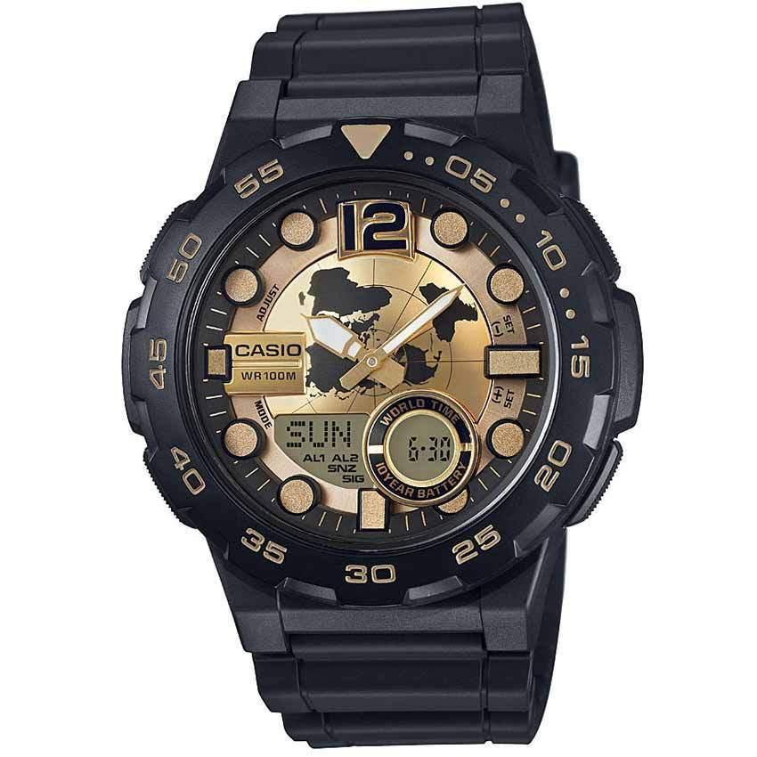 Casio AEQ100BW-9AV Men's Gold Face '3D Dial' Quartz Resin Watch