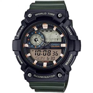 CASIO AEQ200W-3AV SUPER ILLUMINATOR ANALOG DIGITAL GREEN RESIN LARGE SIZE WATCH