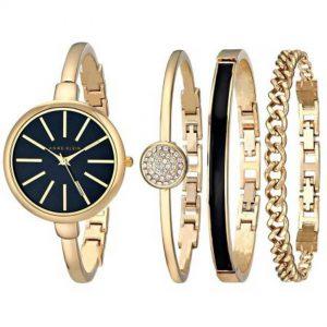 Anne Klein AK/1470GBST Women's Gold-Tone Bracelet Set Medium Size Watch