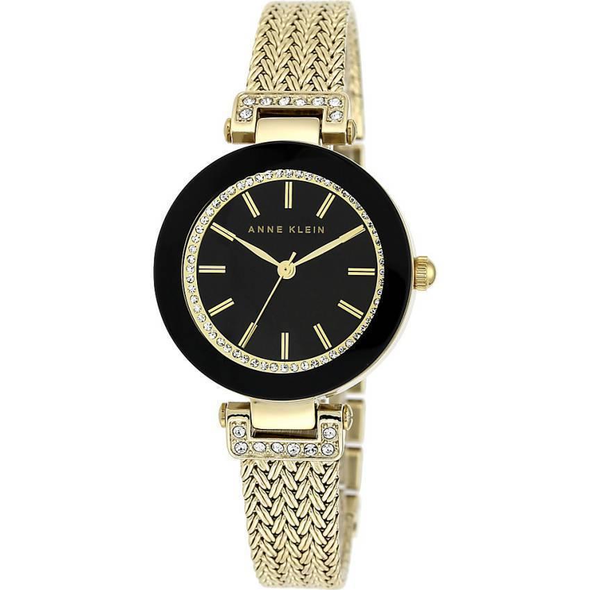Anne Klein AK/1906BKGB Women's Swarovski Crystal-Accented Mesh Bracelet Watch