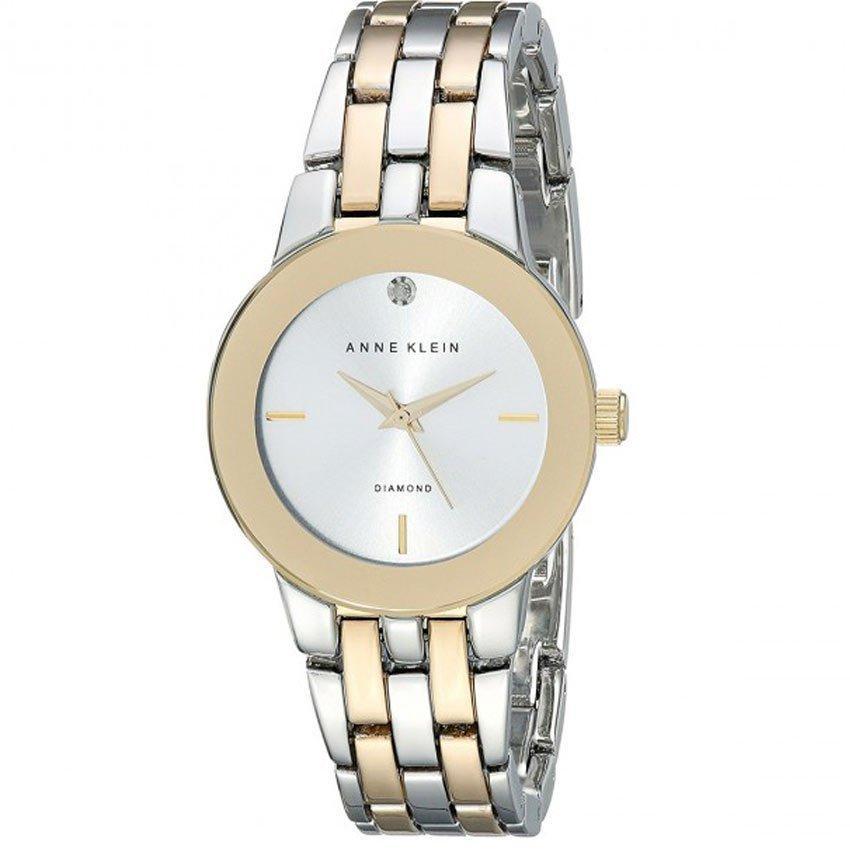 Anne Klein AK/1931SVTT Women's Diamond-Accented Dial Two-Tone Bracelet Medium Size Watch