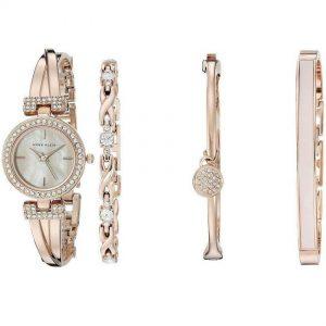 Anne Klein AK/2238RGST Women's Swarovski Crystal-Accented Rose Gold Bangle Watch and Bracelet Set