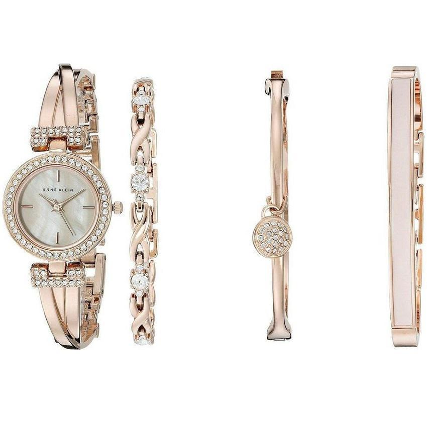Anne Klein AK/2238RGST Women's Swarovski Crystal-Accented Rose Gold Bangle Watch and Bracelet Set