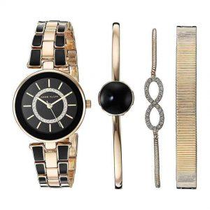Anne Klein AK/3286BKST Women's Swarovski Crystal Accented Gold-Tone And Black Watch And Bracelet Set