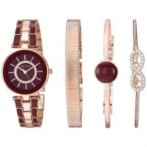 Anne Klein AK/3286BYST Women's Swarovski Crystal Accented Rose Gold-Tone Burgundy Watch Bracelet Set