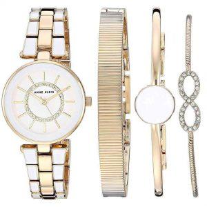 Anne Klein AK/3286WTST Women's Swarovski Crystal Accented Gold-Tone White Watch Bracelet Set