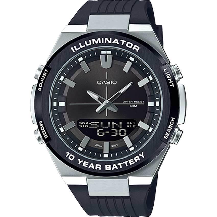 Casio AMW860-8AV Men's Analog Digital Black Dial,Black Silicone Band Watch