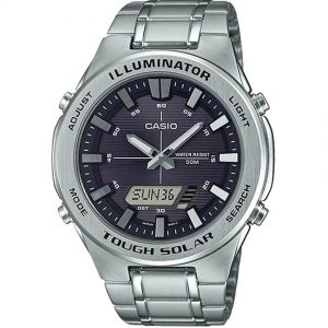 Casio AMWS850D-1AV Men's Solar Powered Multi-Function Silver Bracelet Watch
