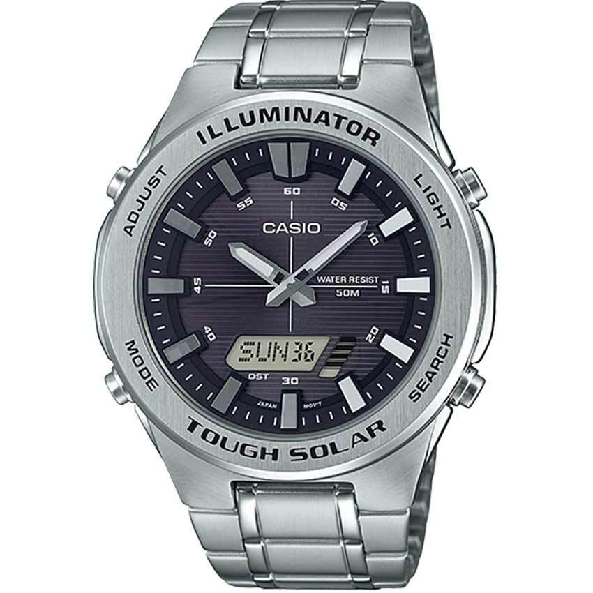Casio AMWS850D-1AV Men's Solar Powered Multi-Function Silver Bracelet Watch