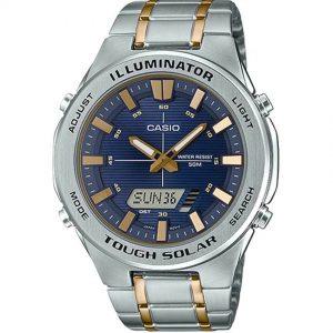 Casio AMWS850SG-2AV Men's Solar Powered Multi-Function Two-Tone Bracelet Watch