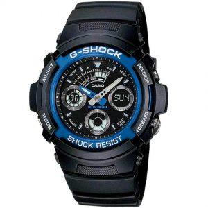 CASIO GENTS AW-591-2ADR G-SHOCK ANALOG-DIGITAL BLUE/BLACK BEZEL SPORT WATCH