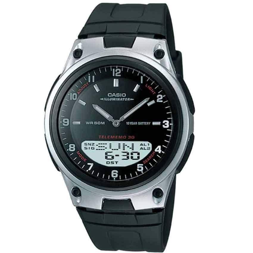 Casio AW80-1AV Men's Forester Ana-Digi Databank Black Resin Medium Watch