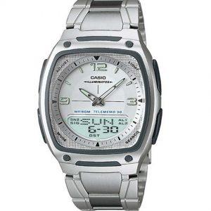 Casio AW81D-7AV Men's Ana-Digi DataBank White Dial Medium Size Watch