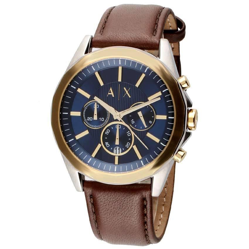 Armani Exchange AX2612 Men's Drexler Chronograph Blue Dial Brown Leather Watch
