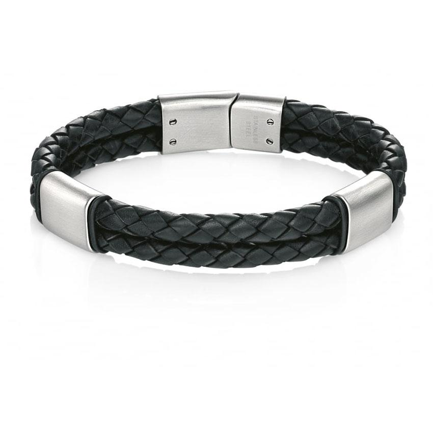 Fred Bennett B4373 Men's Brushed Stainless Steel Black Leather Bracelet