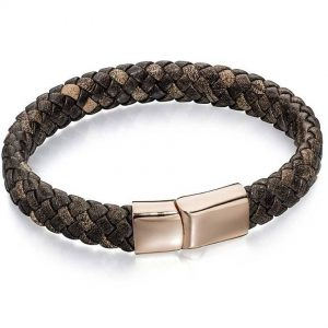 Fred Bennett B4685 Men's Plaited Brown Leather with Polished Rose-Gold Stainless Steel Clasp Bracelet