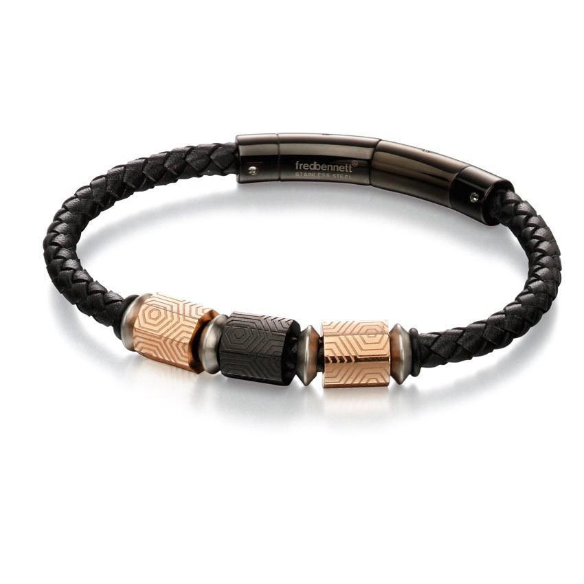 Fred Bennett B4982 Men's Black & Rose Gold IP Geo Bead & Black Leather Bracelet