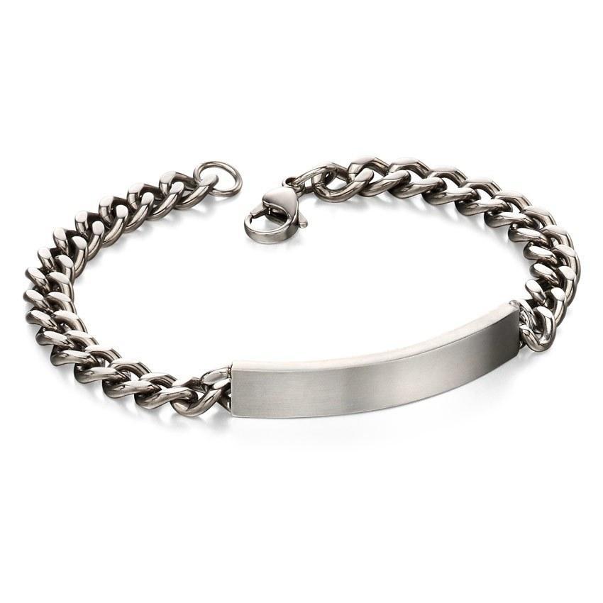 Fred Bennett B4987 Men's Stainless Steel Brushed ID Bracelet