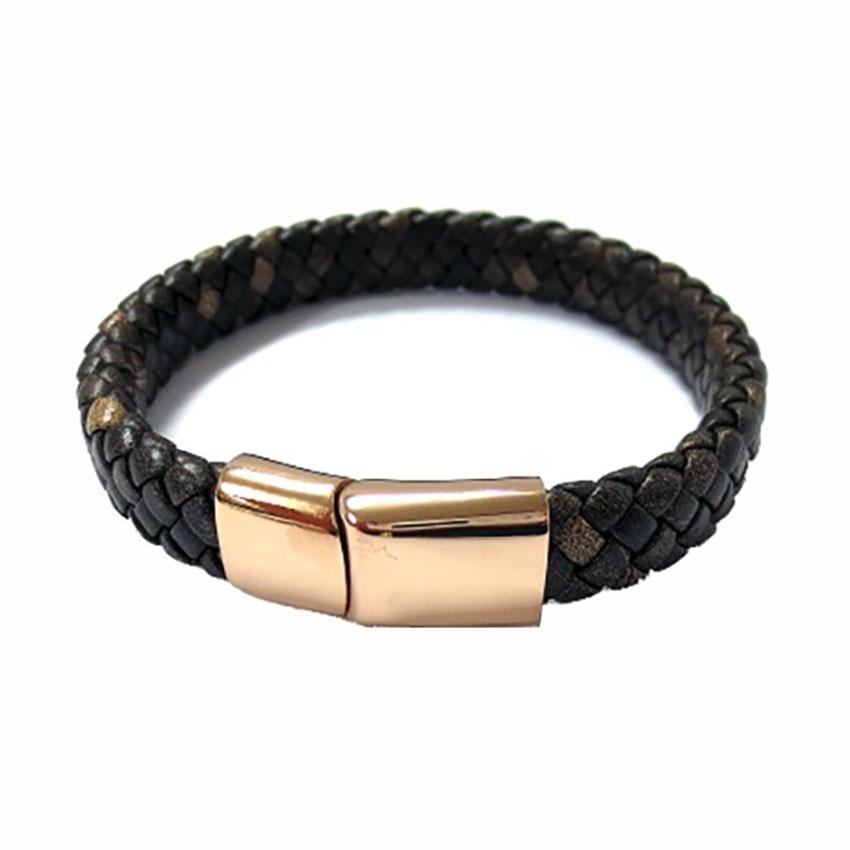 Fred Bennett B5001 Men's Rose Gold IP & Plaited Dark Brown Leather Bracelet