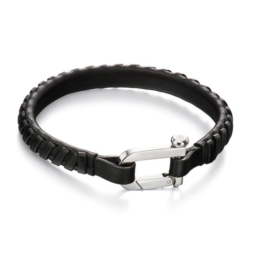 Fred Bennett B5002 Men's Stainless Steel Black Leather Weaved 21cm Bracelet