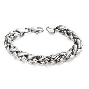 Fred Bennett B5057 Men's Stainless Steel Twisted Link Bracelet