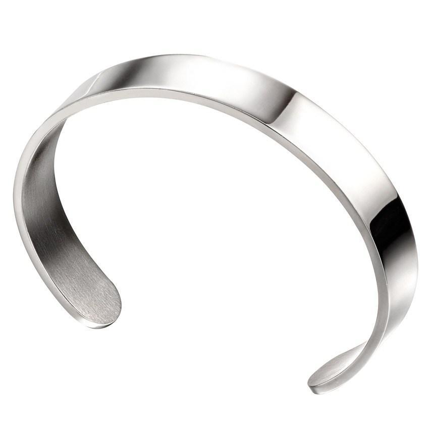 Fred Bennett B5114 Men's Plain Stainless Steel Cuff Bracelet