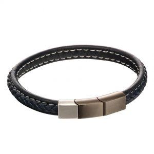 Fred Bennett B5119 Men's Navy Blue Leather Plaited Bracelet