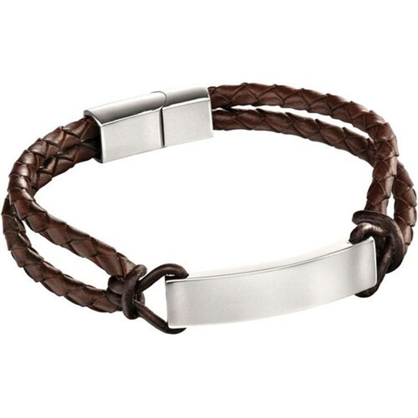 Fred Bennett B5122 Men's Stainless Steel Brown Leather Rope ID Bracelet