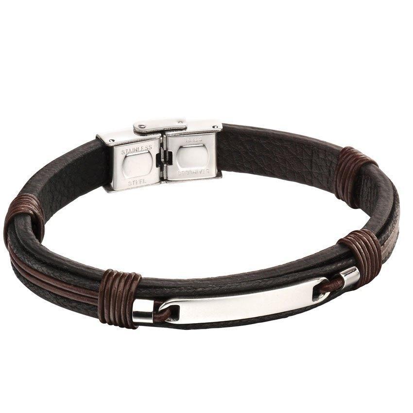 Fred Bennett B5124 Men's Brown leather Silver Clasp bracelet