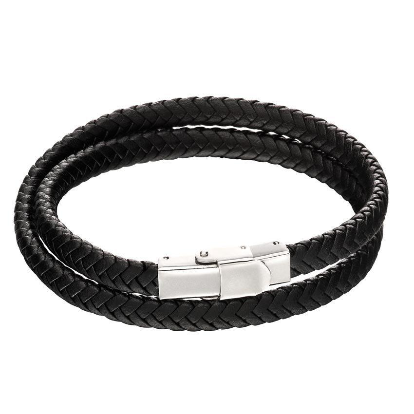 Fred Bennett B5125 Men's Black Leather Woven Bracelet