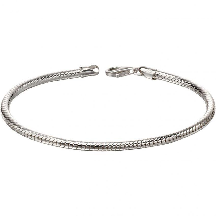 Fred Bennett B5127 Men's Round Sterling Silver Snake Chain Bracelet