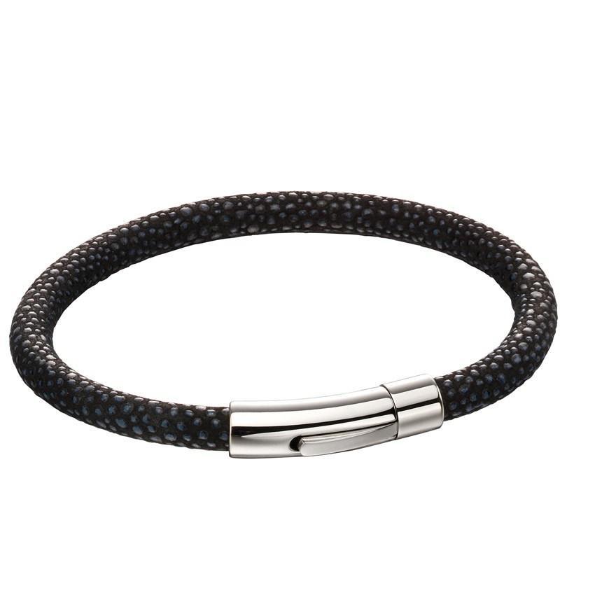 Fred Bennett B5136 Men's Black Leather Textured Bracelet
