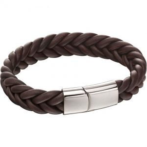 Fred Bennett B5140 Men's Fred French Plaited Brown Leather Bracelet