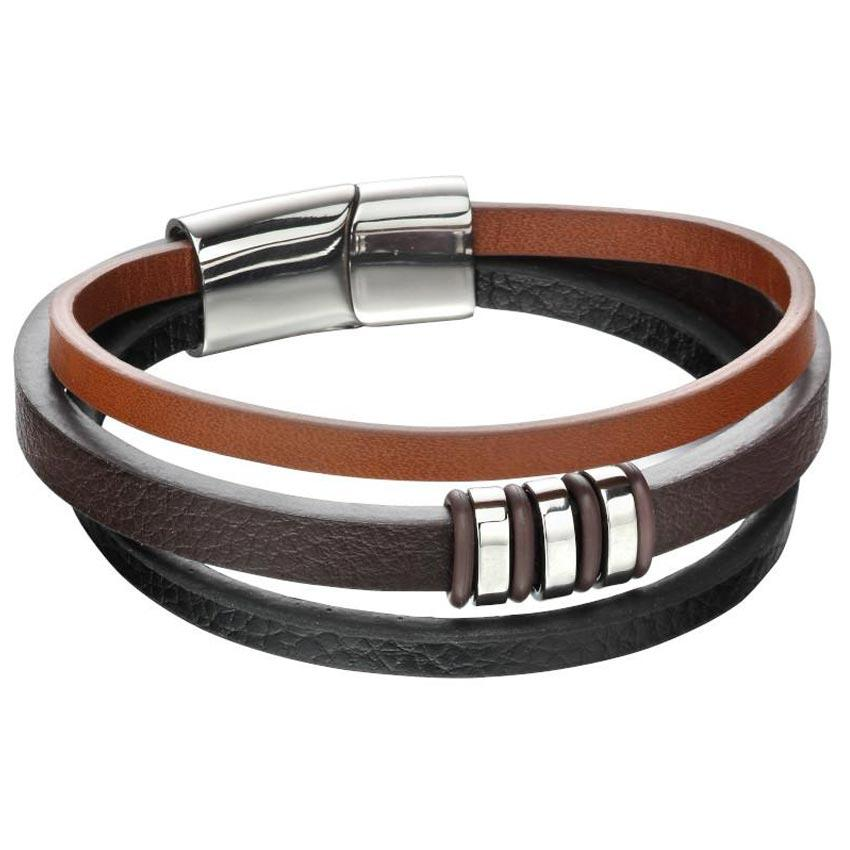 Fred Bennett B5161 Men's TRI Colour Leather Bracelet