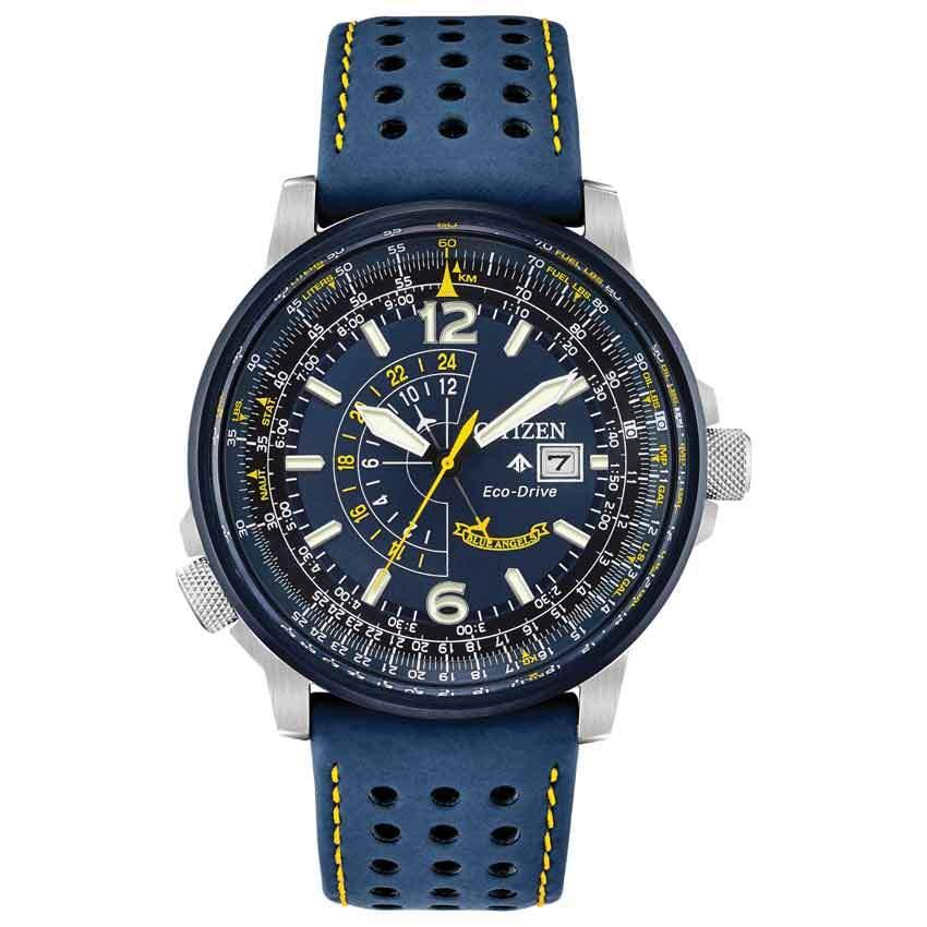 Citizen BJ7007-02L Men's Eco-Drive Promaster Nighthawk Blue Leather Watch