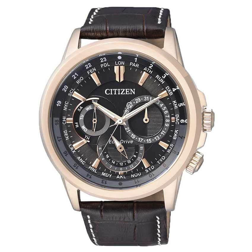 Citizen BU2023-12E Men's Eco-Drive Calendrier World Time Leather Watch