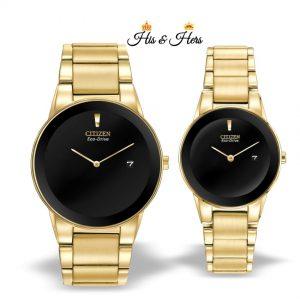 Citizen His 'N' Hers Axiom Black Dial Gold Black Dial Watch