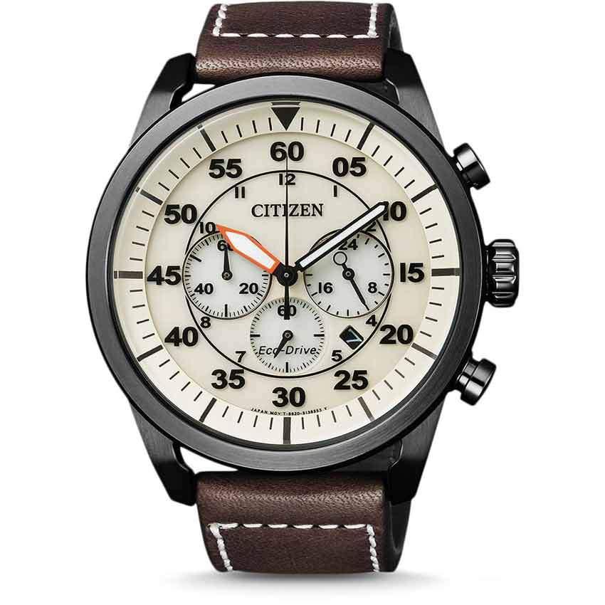 Citizen CA4215-04W Men's Eco-Drive Aviator Chronograph Beige Dial Watch