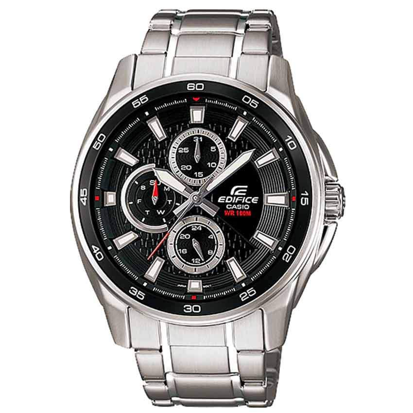 Casio Gent's EF-334D-1AVUDF Black Multi Dial Edifice Medium Watch